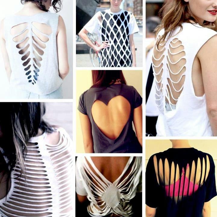 cut up shirts diy t shirt cutout patterns - T Shirt Design Ideas Cutting