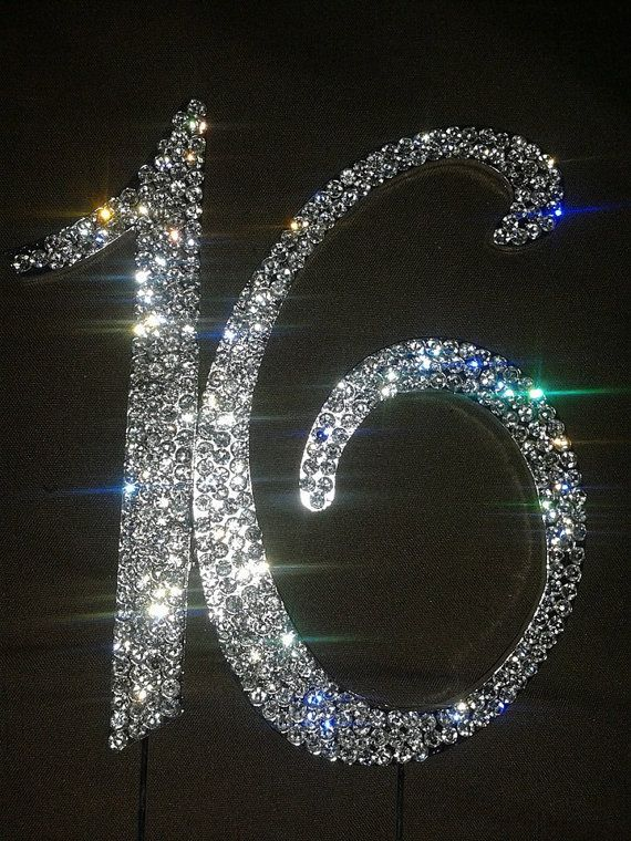 monogram sliver bling letters or numbers with rhinestones  sweet 16 cake topper  letter cake