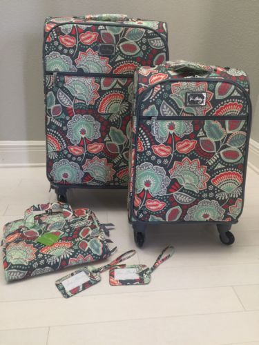 Vera-Bradley-NOMADIC-FLORAL-27-034-amp-22-034-Spinner-Suitcase-Set-Luggage-Extras-NEW