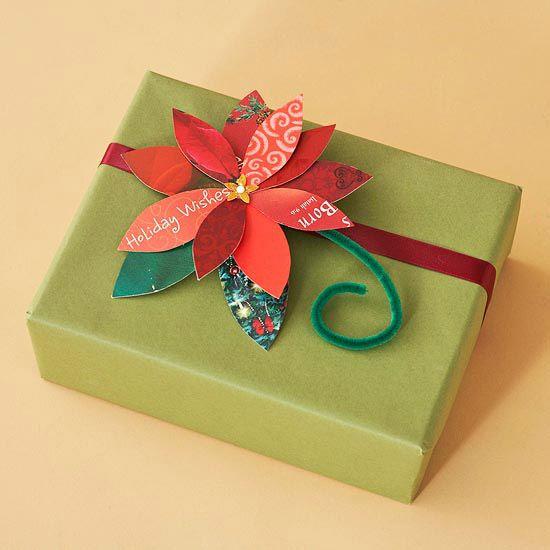 Christmas Card Poinsettia- Recycled Christmas card.