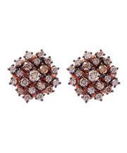 Rose Gold Champagne Diamonds Starburst Stud Earrings