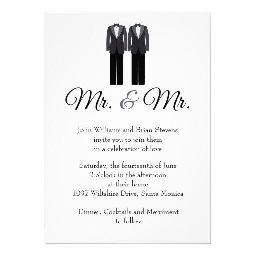 Mr And Mr Gay Wedding Invitation