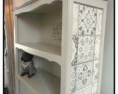"""RESERVé...bibliothèque bibus """" Provence rétro"""" étagère relookée bois patiné gris décor carreau de ciment relooking cm homedeco"""