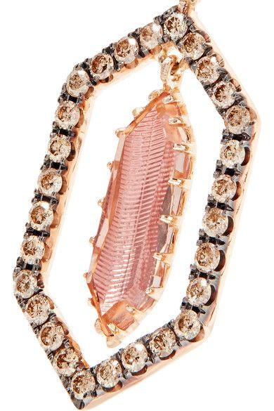 Larkspur & Hawk - Caprice Floating 14-karat Rose Gold, Diamond And Quartz Earrings - one size