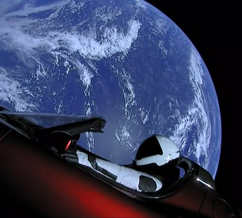 Picture of the day for February 07 2018 at 06:36PM from 'Daily Overview; Starman experiencing the Overview Effect following yesterdays Falcon Heavy Rocket launch by SpaceX. If you havent seen the news yet the company completed the first test of its most powerful rocket ever and successfully landed 2 of 3 rockets used in the launch. The rocket was carrying the red Tesla Roadster of Elon Musk which also had a mannequin (aka Starman) strapped into the driver seat and outfitted in the newest…