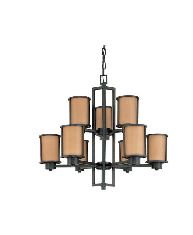 nuvo lighting odeon collection nine light energy star efficient fluorescent gu24 chandelier in aged bronze finish - Nuvo Lighting
