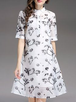 White Two Piece Short Sleeve Stand Collar Floral Midi Dress