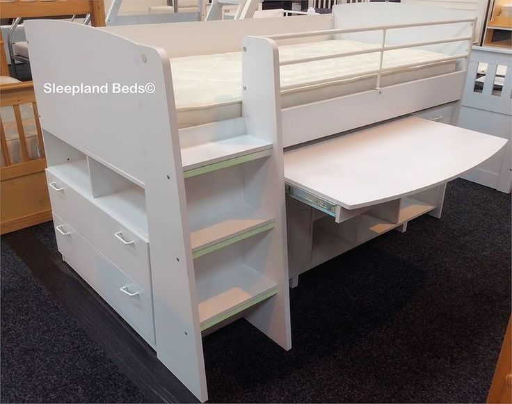 White cabin bed with desk at Sleepland Beds