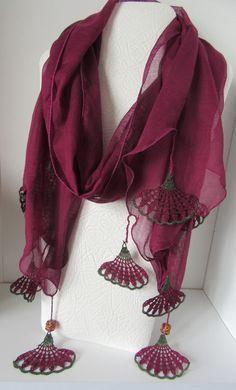 SPRİNG SCARF, cotton purple scarf, Turkish scarf, Oya, crochet flower scarf, floral scarf