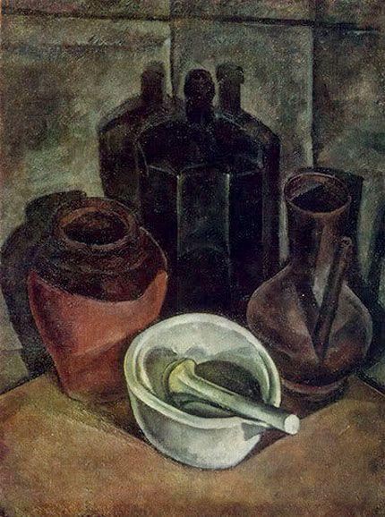Александр Осмёркин «Натюрморт с бутылью и фарфоровой ступкой» 1918 г.