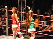 Two dark-haired Caucasian female identical twins are standing in a wrestling ring with red ropes, facing in opposite directions. They are both wearing dresses in the fashion of 'Santa Claus', although one is red and one is green.