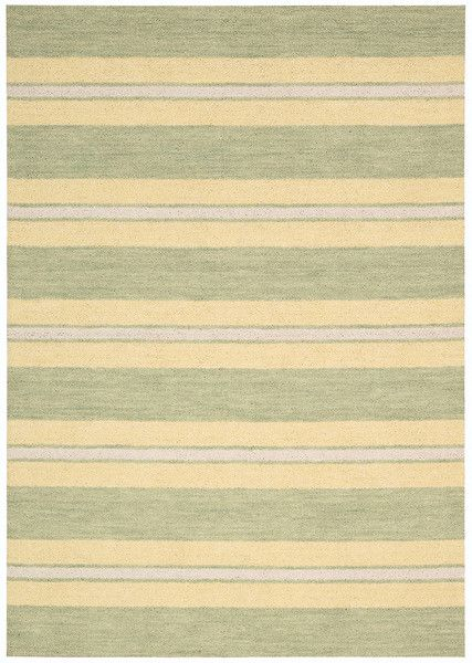 Casual elegance with a touch of traditional sophistication describes this handsome signature stripe-style Oxford rug is quintessential Barclay Butera.  #barclaybutera #stripe #green #sophistication
