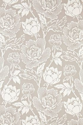 Peony is a classic english floral pattern drawn from 19th century pure silk woven jacquards. Based on the ornamental Peony flower, this sumptuous and curvaceous design brings contemporary glamour to a traditional and romantic floral print. Full roll width is 53cm/21