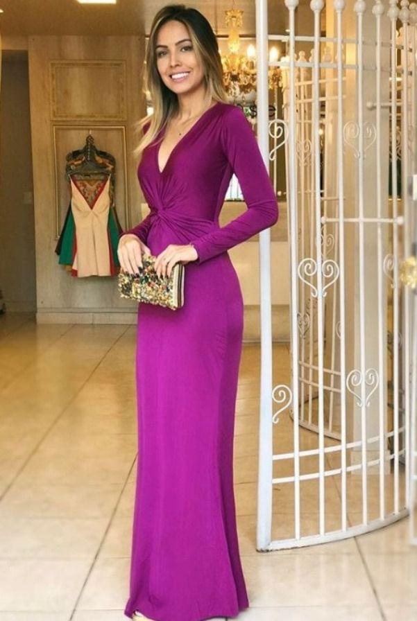 vestido de festa fucsia, uva e roxo