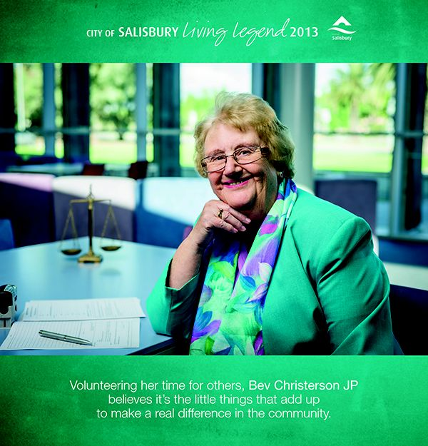Living Legend 2013 Bev Cristerson JP: Bev volunteers her time for others and believes it's the little things that add up to make a real difference in the community.