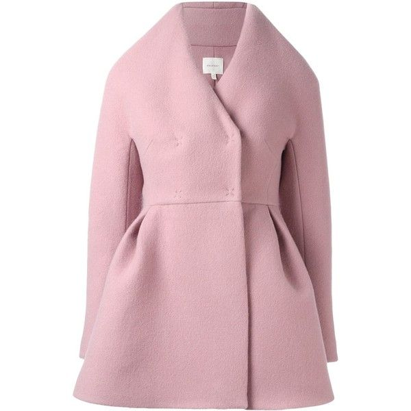 Delpozo structured short coat ($3,012) ❤ liked on Polyvore featuring outerwear, coats, pink, short coat and pink coat