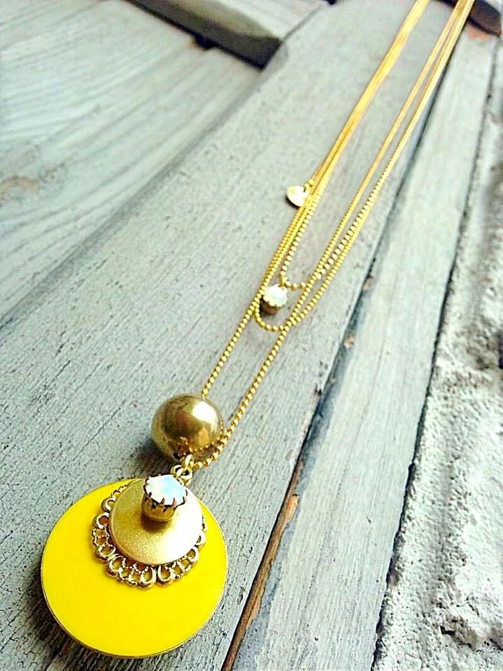 Natanè Planet necklace on an old door, yellow color. #necklace #collane #colors #Yellow #woman #fashion #style #outfit #swarovski #jewel #bijoux #door #porta #gate #girl #natanè