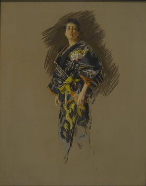 Robert Frederick Blum (American, 1857-1903). Woman in a Japanese Costume, ca. 1890-1892. Pastel on thick paper with a mauve/gray textured ground, mounted to paperboard and attached to a wooden strainer, 28 5/16 x 22 3/8 in. (71.9 x 56.8 cm). Brooklyn Museum, Gift of Henrietta Haller, 11.525