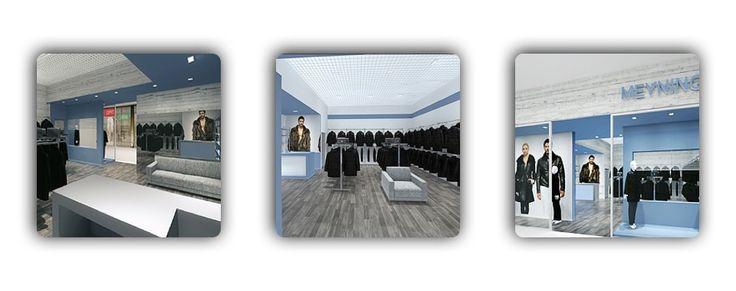 Дизайн-проект магазина. Создан с учетом фирменного стиля модного производителя верхней одежды