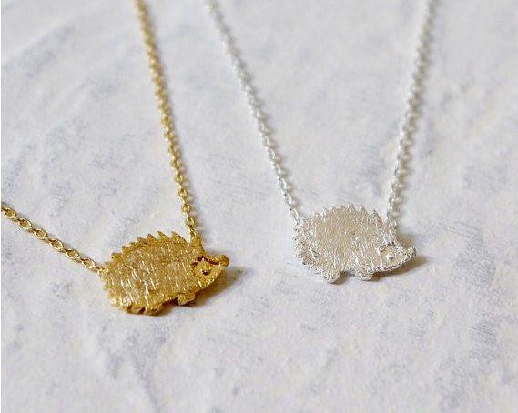 Hedgehog Minimal Necklace, Gold Hedgehog Necklace, Silver Hedgehog Necklace, Cute Minimal Pendant Necklace, Boho Animal Minimal Necklace