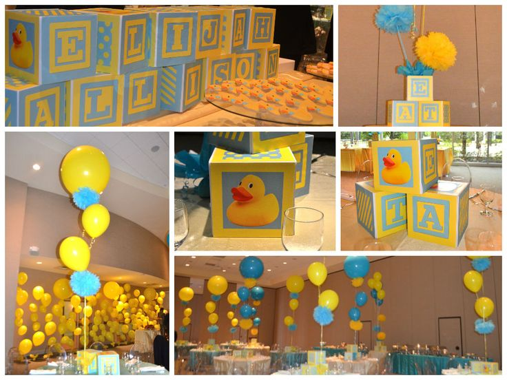 Baby Shower Décor by Ideal Party Decorators - duck theme, blue & yellow - www.idealpartydecorators.com
