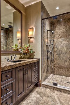 Rustic Undermount Sink Dark Wood Cabinet Finish Granite Counter Material Bathroom Design Ideas, Pictures, Remodel and Decor