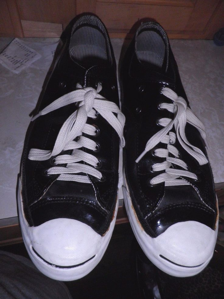 CONVERSE JACK PURCELL Black Patent Leather Sneakers Size US Mens 10.5  Womens12