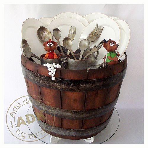 Edible Art, Cake. Cinderella's dirty dishes. Gata borralheira.