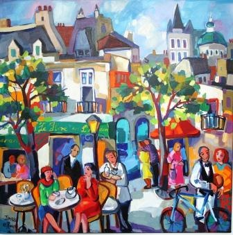 Paris Bistro 900x900 Oil Painting