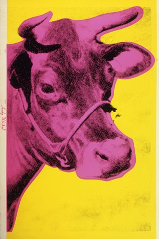 Andy Warhol (American, 1928-1987)       Cow, 1966       screen print on wallpaper       45 1/2 x 29 3/4 in. (115.6 x 75.6 cm.)      The Andy Warhol Museum, Pittsburgh; Founding Collection, Contribution The Andy Warhol Foundation for the Visual Arts, Inc.      © The Andy Warhol Foundation for the Visual Arts, Inc.     1998.1.2379