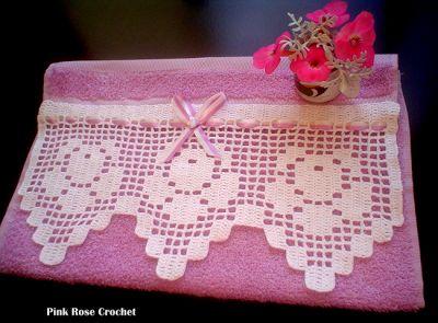 \ PINK ROSE CROCHET /: Barra Rosa Linda em Crochê Filê