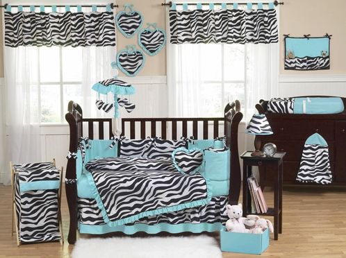 http://www.beyond-bedding.com/blue-turquoise-black-white-zebra-print-baby-crib-bedding-set.html