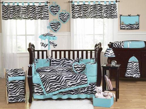 http://www.beyond-bedding.com/blue-turquoise-black-white-zebra-print-baby-crib-bedding-set.html