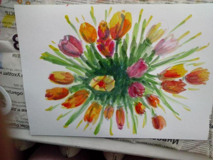 Тюльпаны для маленьких непосед: рисуем вместе с детьми - Ярмарка Мастеров - ручная работа, handmade