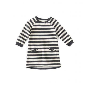 Ecru/grijs gestreepte jurk - Mister Monkey and Misses Butterfly - Little Label - AW16 - Girls - Dress - Stripes