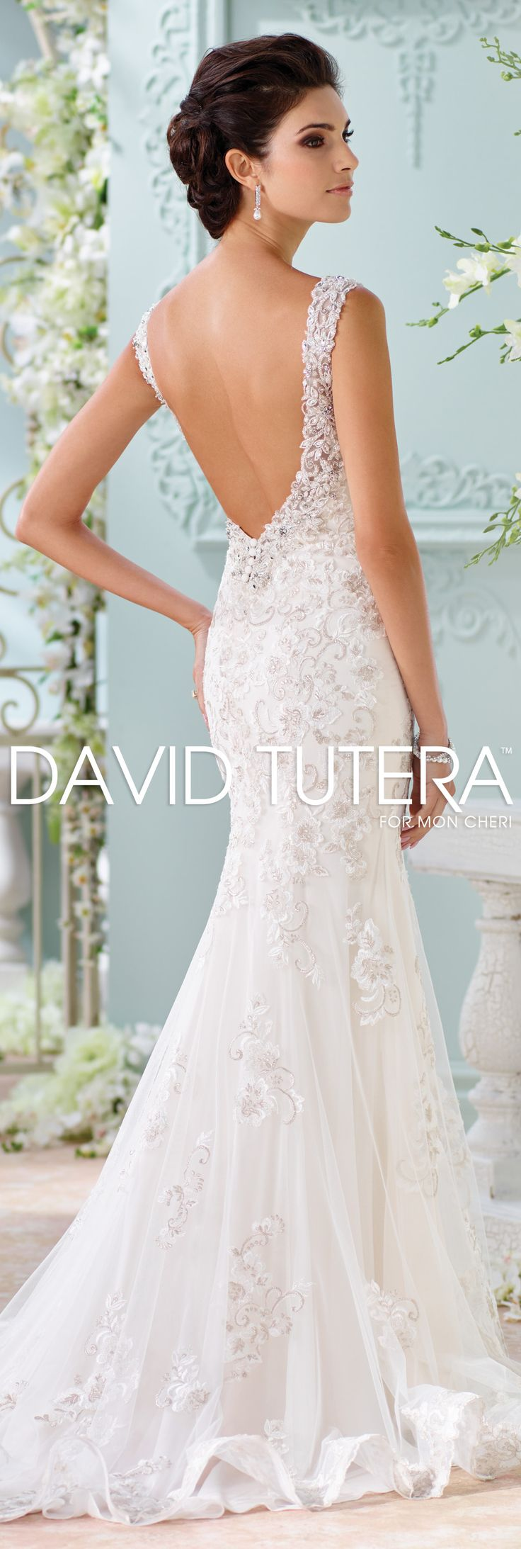 The David Tutera for Mon Cheri Spring 2016 Wedding Gown Collection - Style No. 116220 Colesha #laceweddingdresses