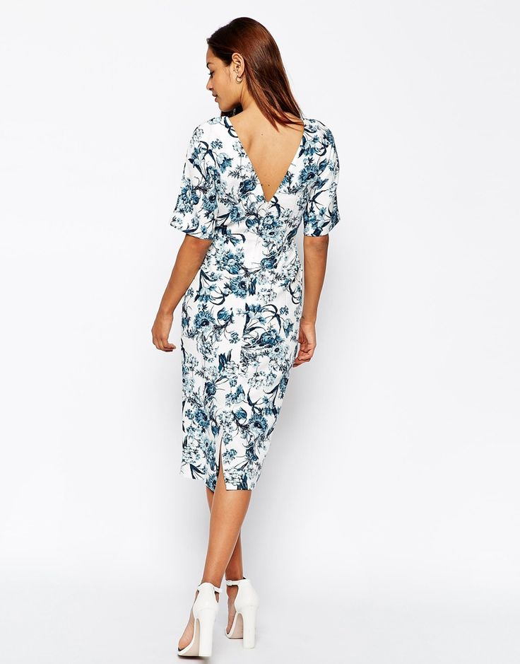 Image 2 of ASOS Wiggle Dress in Texture with Blue Floral Print