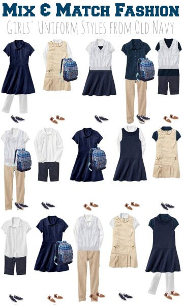 Mix and Match Girls School Uniforms from Old Navy! Save on back to school shopping with an interchangeable wardrobe!