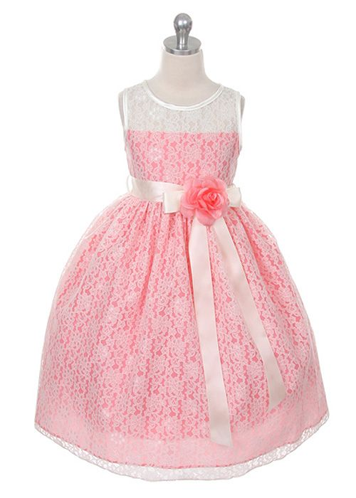 Coral Lace Flower Girl Dress With Choice Of Sash