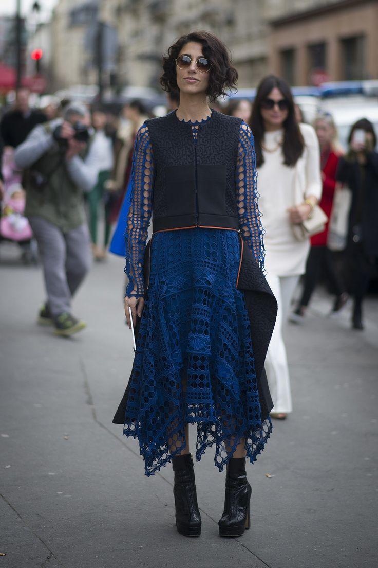 Yasmin Sewell in bright blue eyelet. #Streetstyle at Paris Fashion Week #pfw