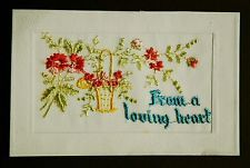 WW1 War Postcard Genuine Embroidered Silk From A Loving Heart