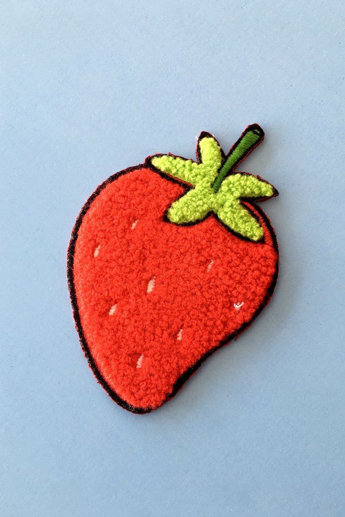 Were obsessed with this insanely luscious giant strawberry chenille patch from designer tuesday bassen ripe for the picking this luscious giant