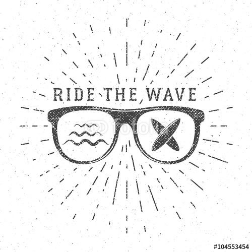 """Download the royalty-free vector """"Vintage Surfing Graphics and Poster for web design or print. Surfer glasses emblem, summer beach logo design. Surf Badge. Surfboard seal, element Summer boarding. Ride the wave vector hipster insignia"""" designed by jeksonjs at the lowest price on Fotolia.com. Browse our cheap image bank online to find the perfect stock vector for your marketing projects!"""