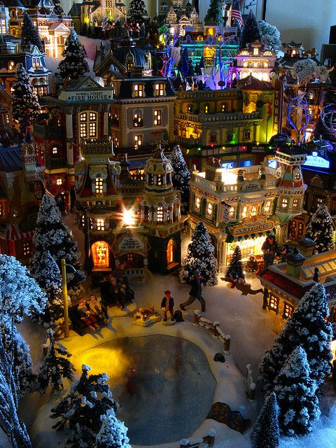 Village buildings overlooking the Skating Pond, 2009 Christmas Village by Mastery of Maps, via Flickr