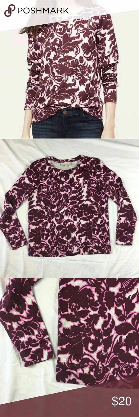 "💠LOFT Light-Weight Top *EUC - Worn just a couple of times! *Burgundy/ Pink/Gray print  *Size: Large (a little roomy, boxy) *Length: 24"" *Front Width: 23"" across *87% Cotton / 13% Polyester *Machine Washable LOFT Tops Tunics"