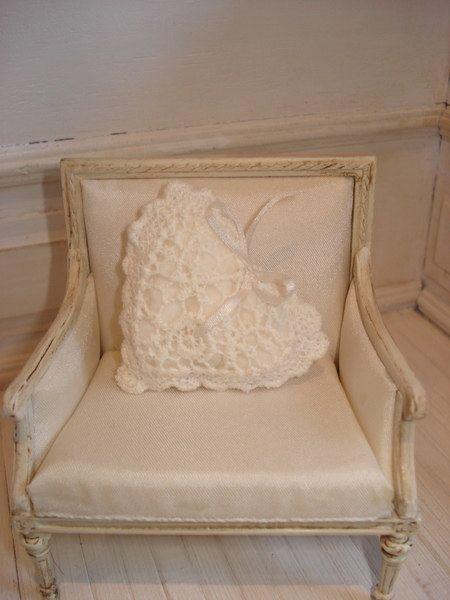 Gorgeous Miniature chair and crochet heart pillow