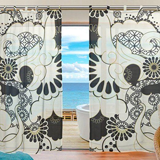 ユキオ(UKIO) オーダーメイド DIY レースカーテン 紗のカーテン 人気 可愛い お洒落 和柄大好き 可愛い和柄 スタイルカーテン 2枚セット幅140丈210