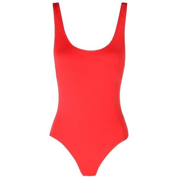 Solid & Striped Red One-Piece Swimsuit (£120) ❤ liked on Polyvore featuring swimwear, one-piece swimsuits, swimsuit, red, swim, tops, striped swimsuit, low back bathing suit, striped one-piece swimsuits and red swimsuit