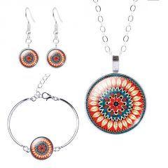 Mandala Çiçek Desen Bileklik ( Bangle ), Küpe ve Kolye Seti