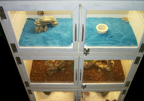 Use the frame of an armoire or cabinet to build an attractive stand of reptile cages! Remove the front doors, install any shelves needed and attach doors on hinges to the front of each cage area. Cut